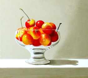 Rainier Cherries in a Glass Bowl